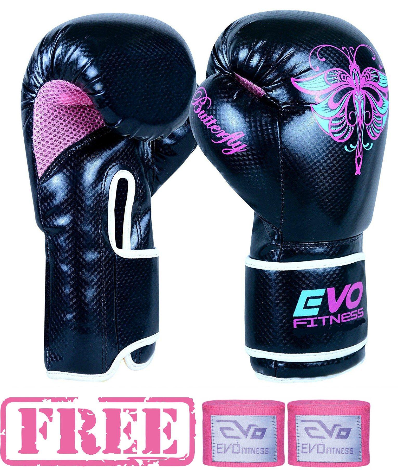 cc697065f21a Evo Fitness - Gants Boxe Femme Cuir Rex Gel Pour Sac De Frappe MMA Muay Thai