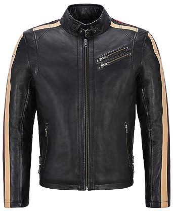 Bestbewertete Mode Modern und elegant in der Mode innovatives Design Herren Lederjacke Schwarz Mit Beige & Rot Streifen Biker ...