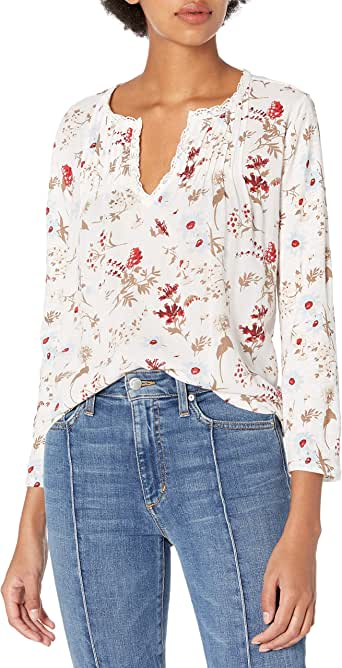 Lucky Brand Women's Floral Ruffle Notch Neck Top