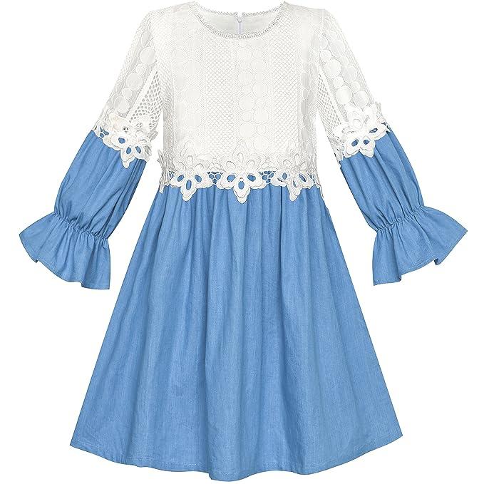 69b8d82081 Girls Dress Long Sleeve White Lace Blue A-line School Uniform Size 6