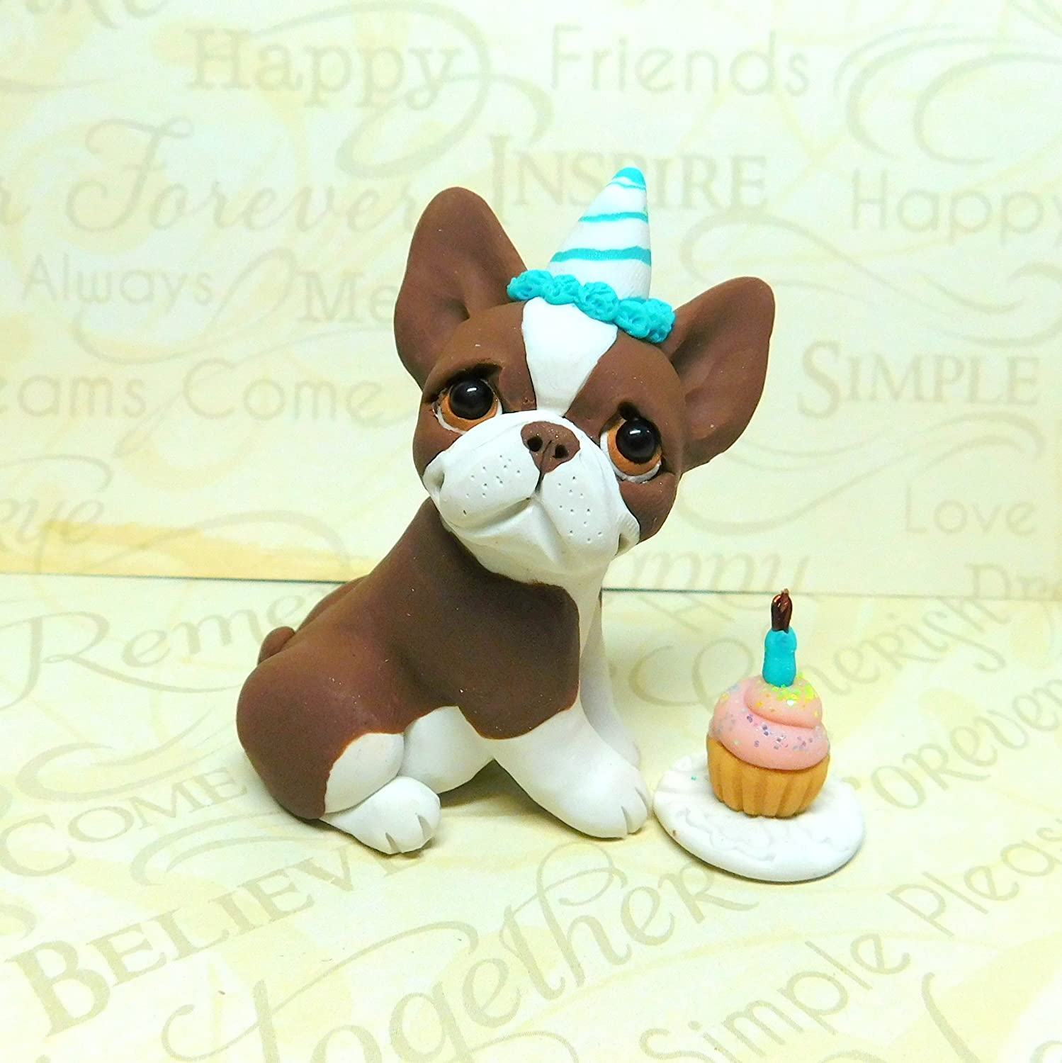 Amazon Brown Boston Terrier Birthday Party Art Sculpture Polymer Clay By Raquel At TheWRC Dog Collectible Handmade