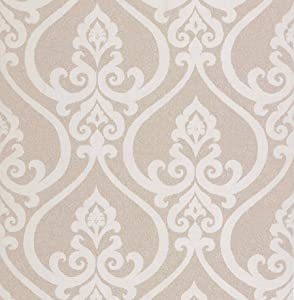BHF DL22800 Antalia Beige Nouveau Damask Wallpaper