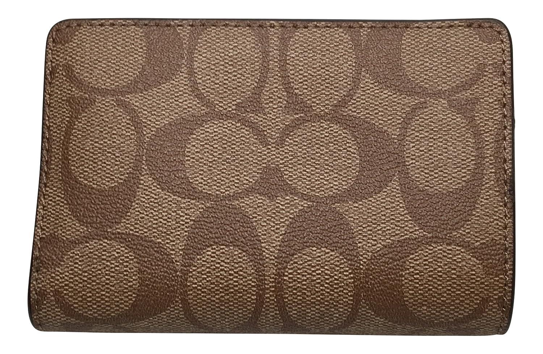 1a95fc21 Coach Signature PVC Medium Corner Zip Wallet Khaki Platinum F23553 ...