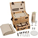 """16.5"""" Lined Wicker Picnic Basket with Built in Cooler by Trademark Innovations"""