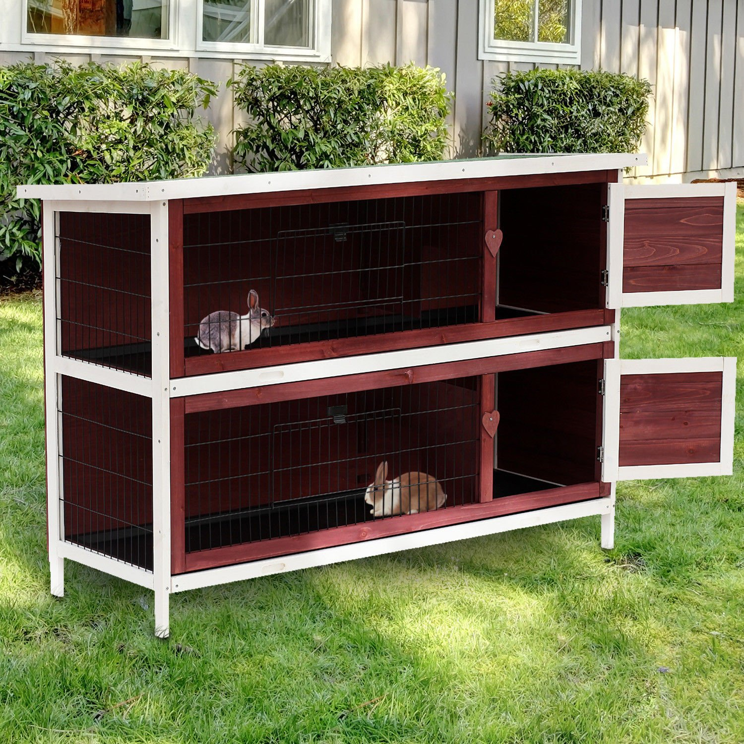 PawHut 54'' 2-Story Weatherproof Stackable Elevated Wooden Rabbit Hutch with Enclosed Run and Pull-Out Trays by PawHut (Image #2)