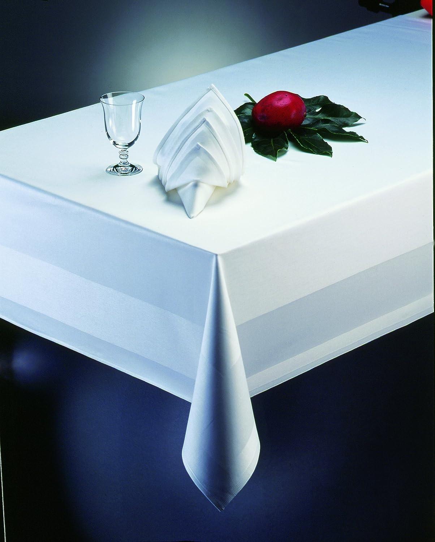 DecoHometextil rectangular damask table cloth 80cm x 80cm white atlas border 100 /% cotton