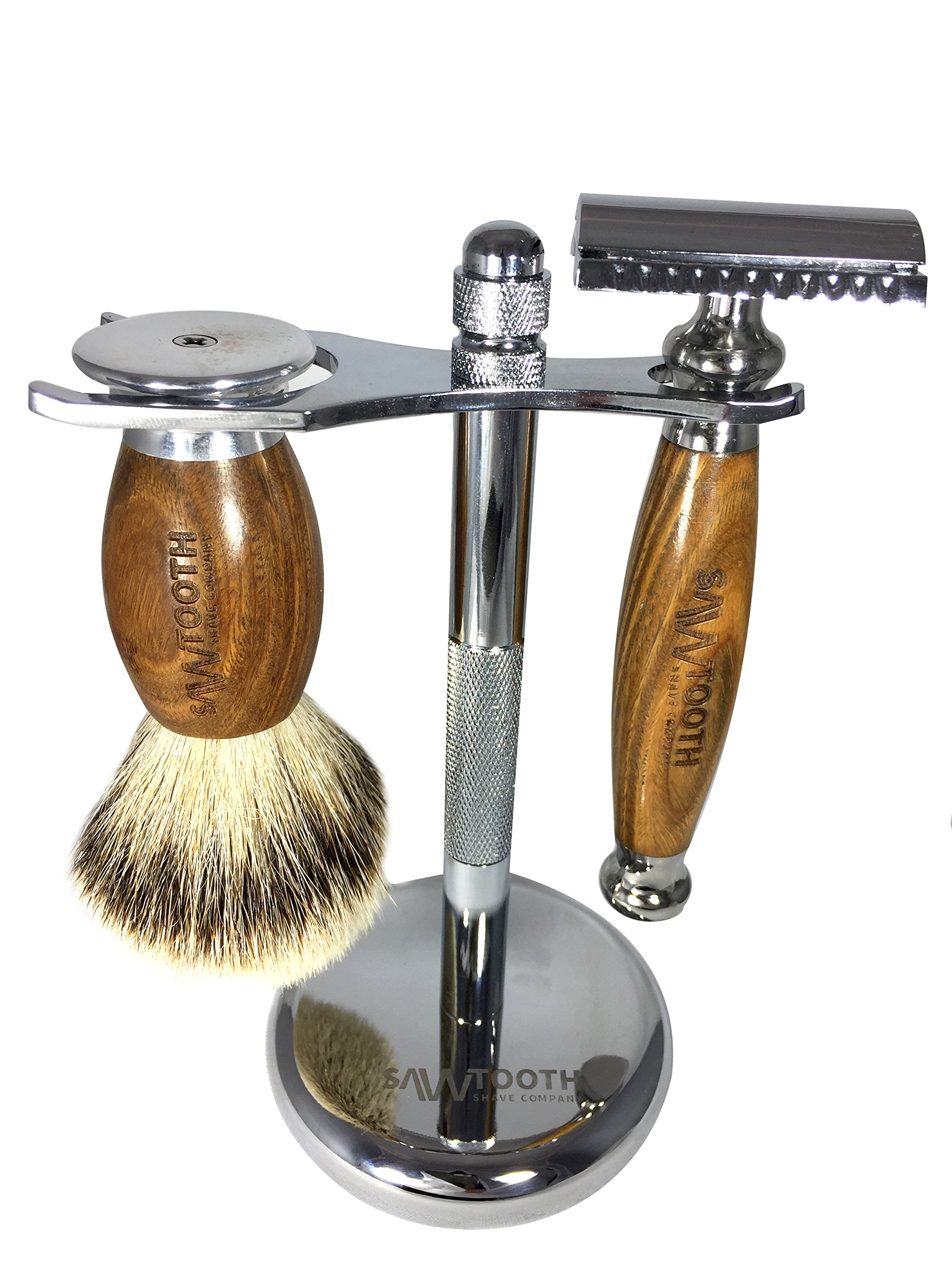 Sawtooth Shave Co. Double Edge Safety Razor Gift Set - Handmade Razor with Badger Hair Brush, Stand, and Leather Carry Case