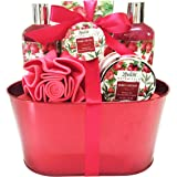 Valentines Spa Gift Basket and Bath Set with Relaxing Pomegranate Fragrance, by Lovestee - Bath and Body Gift Set, Includes Shower Gel, Bubble Bath, Body Lotion, Bath Salt, Bath-Body EVA Sponge