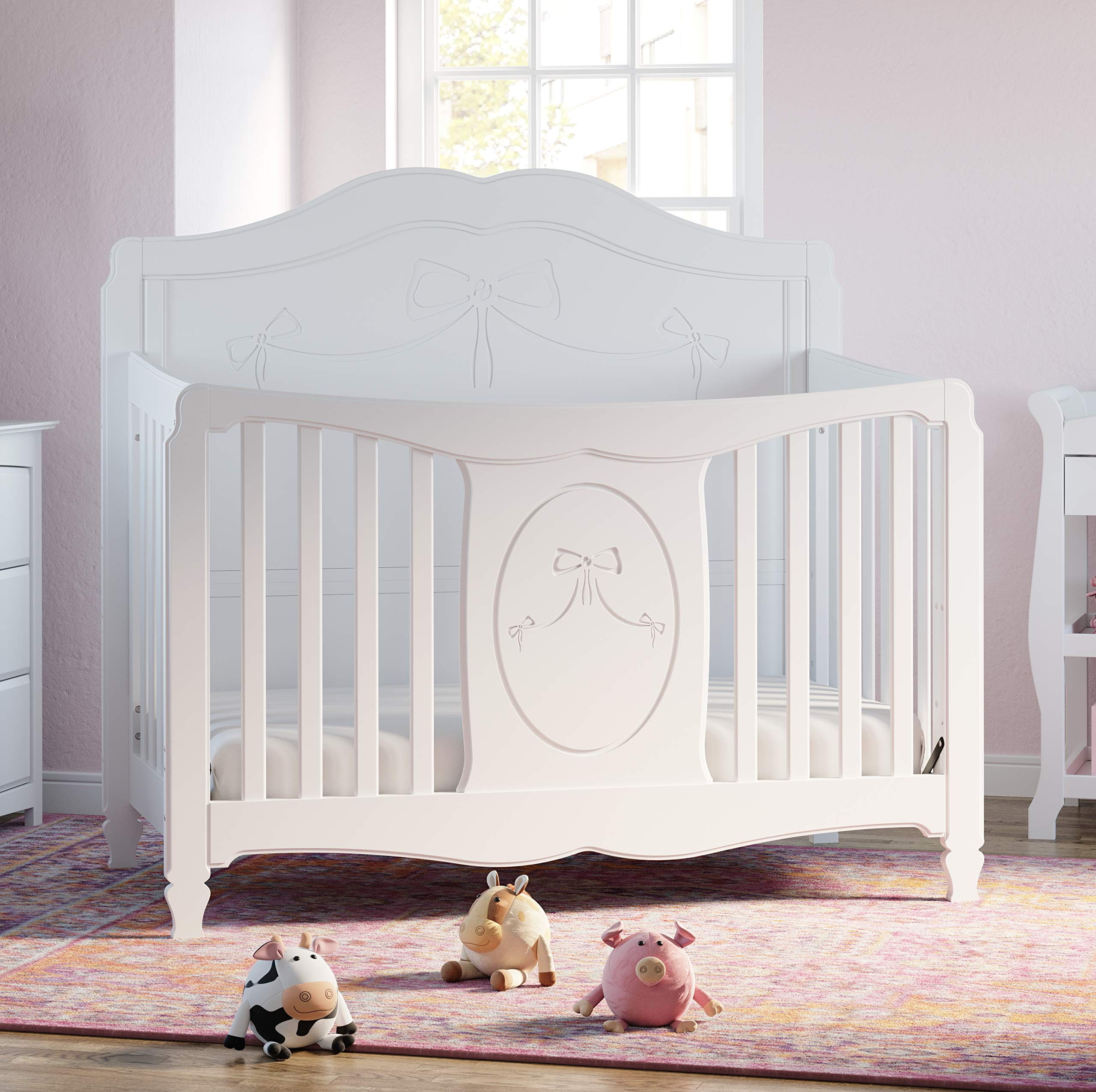 Storkcraft Princess 4-in-1 Fixed Side Convertible Crib, White Easily Converts to Toddler Bed, Day Bed or Full Bed, 3 Position Adjustable Height Mattress by Storkcraft