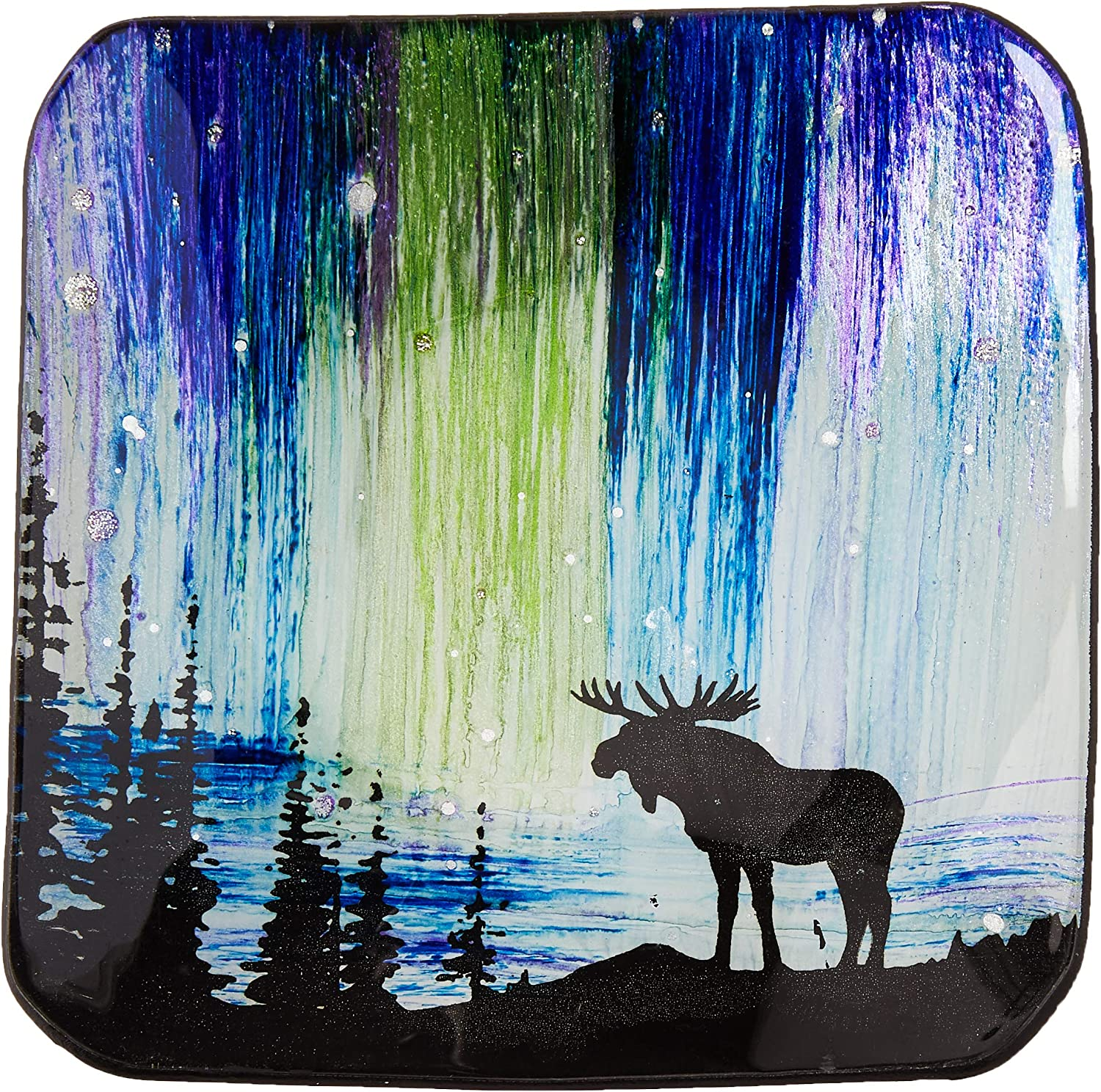 One Size AngelStar Moose Wildlife 5-1//2 Inch Square Decorative Plate Multicolored