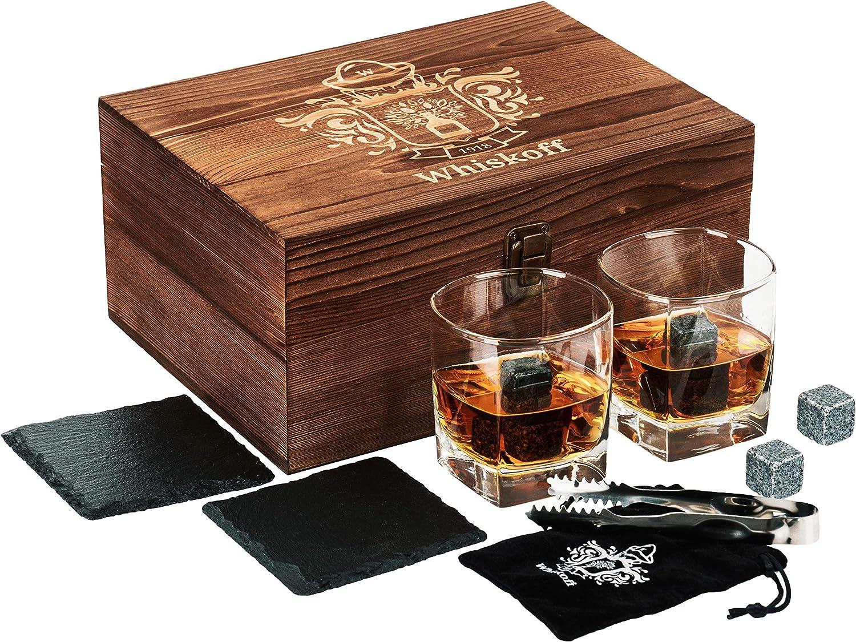 Whisky Rocks Chilling Stones in Wooden Box Whiskey Stones Gift Set Rocks Glasses Stone Set in Gift Box Whiskey Glass Set of 2 Burbon Gift Set Idea for Wisky Lovers Men Scotch Bourbon Glasses