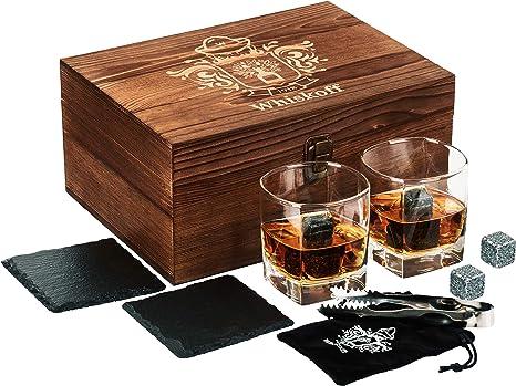 Caja de Juegos de Copas para Whisky - Piedras para Whisky - Copas Scotch o Bourbon - Juego de Rocas de Enfriamiento para Whisky - Juego de Copas ...