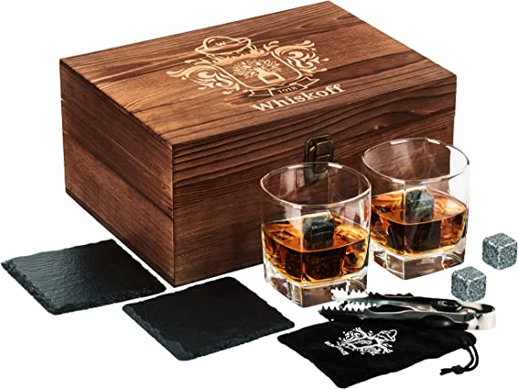 Square Whiskey Glass Set of 2 - Whiskey Stones Gift Set - Scotch Bourbon Glasses - Whisky Rocks Chilling Stones in Wooden Box - Burbon Gift Set for Dad Husband - Cool Idea for Birthday