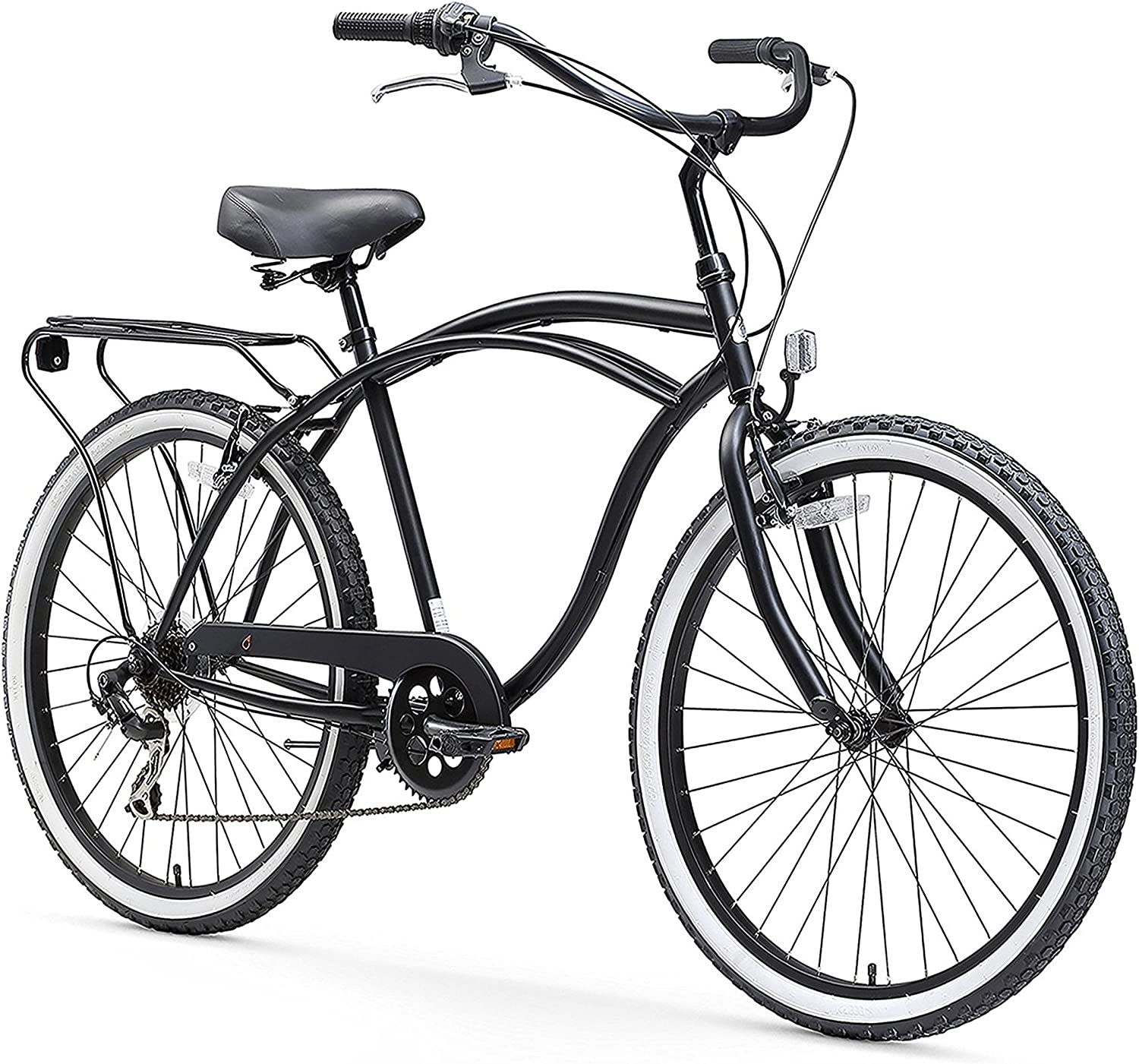 Amazon Com Sixthreezero Around The Block Men S 7 Speed Beach Cruiser Bicycle 26 Wheels Matte Black With Black Seat And Grips Sports Outdoors