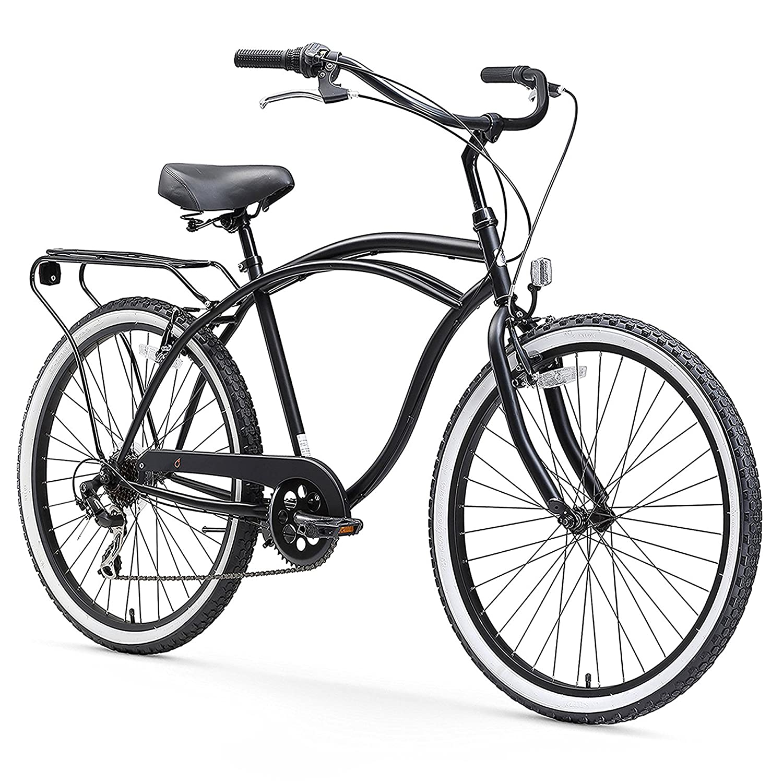 sixthreezero Around The Block Mens 7-Speed Cruiser Bicycle Matte Black w// Black Seat//Grips 26 Wheels//19 Frame