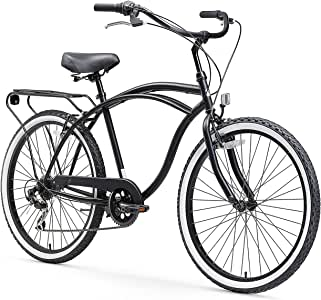 "sixthreezero Around The Block Men's 7-Speed Beach Cruiser Bicycle, 26"" Wheels, Matte Black with Black Seat and Grips"