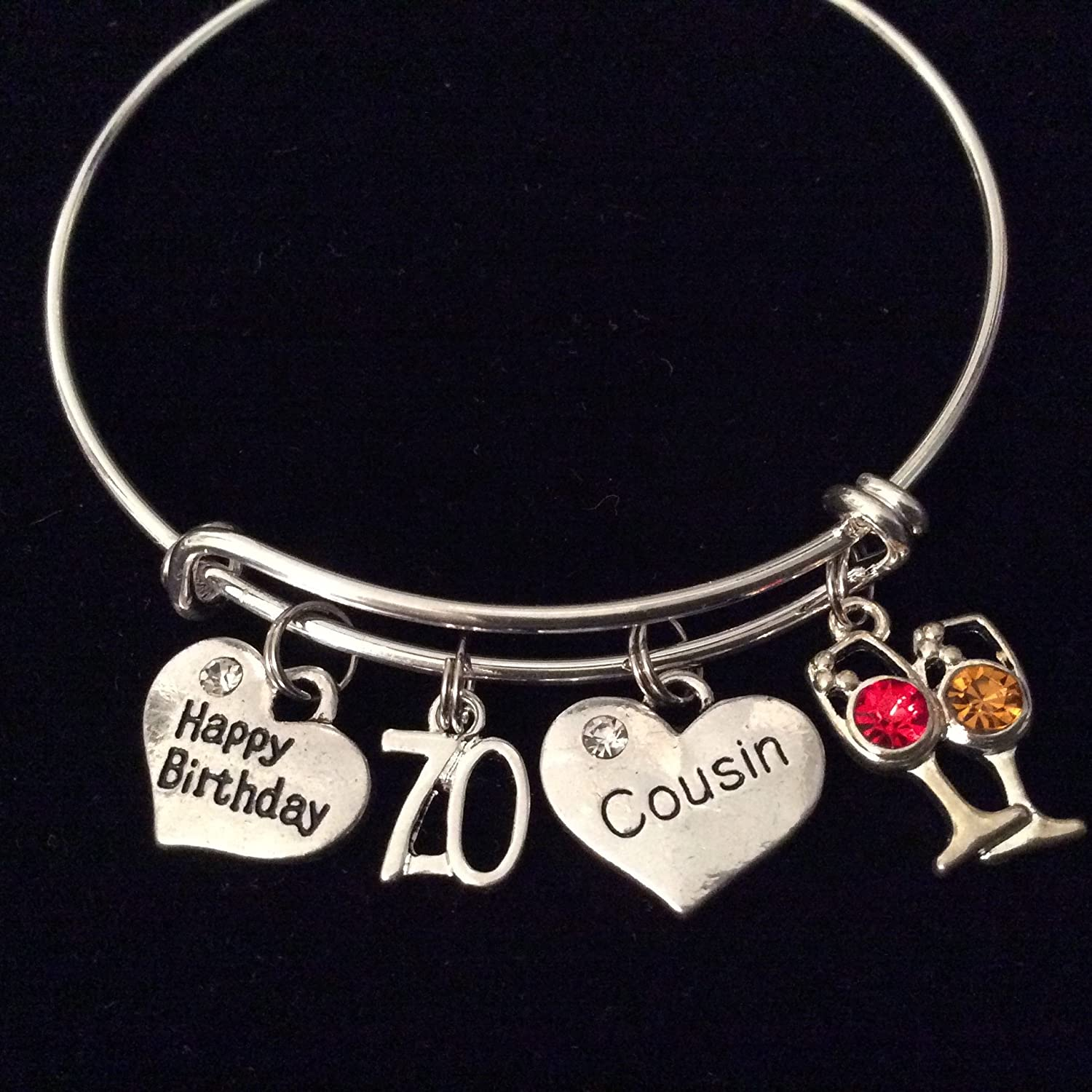 Sterling Silver Charm Bracelet With Attached Red July Crystal Heart Birth Month Charm