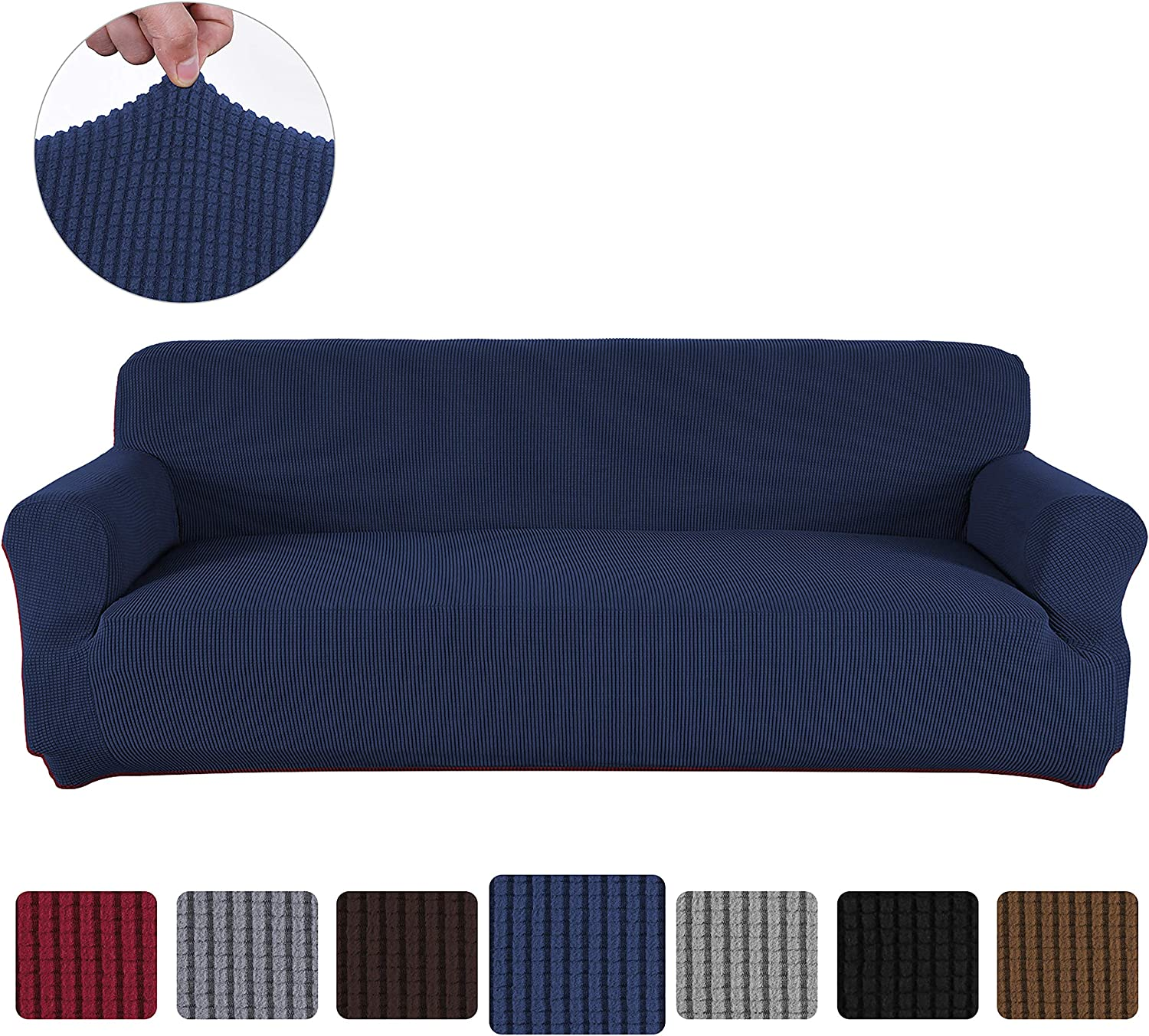 Obstal Stretch Spandex Oversized Sofa Cover, 4 Seat Couch Covers for Living Room, Anti-Slip Sofa Slipcover with Elastic Bottom, Sofa Couch Coverings Furniture Protector for Dogs, Cats, Pets, and Kids