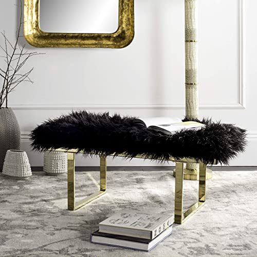 Safavieh Home Collection Mera Glam Grey Faux Sheepskin and Gold Bench