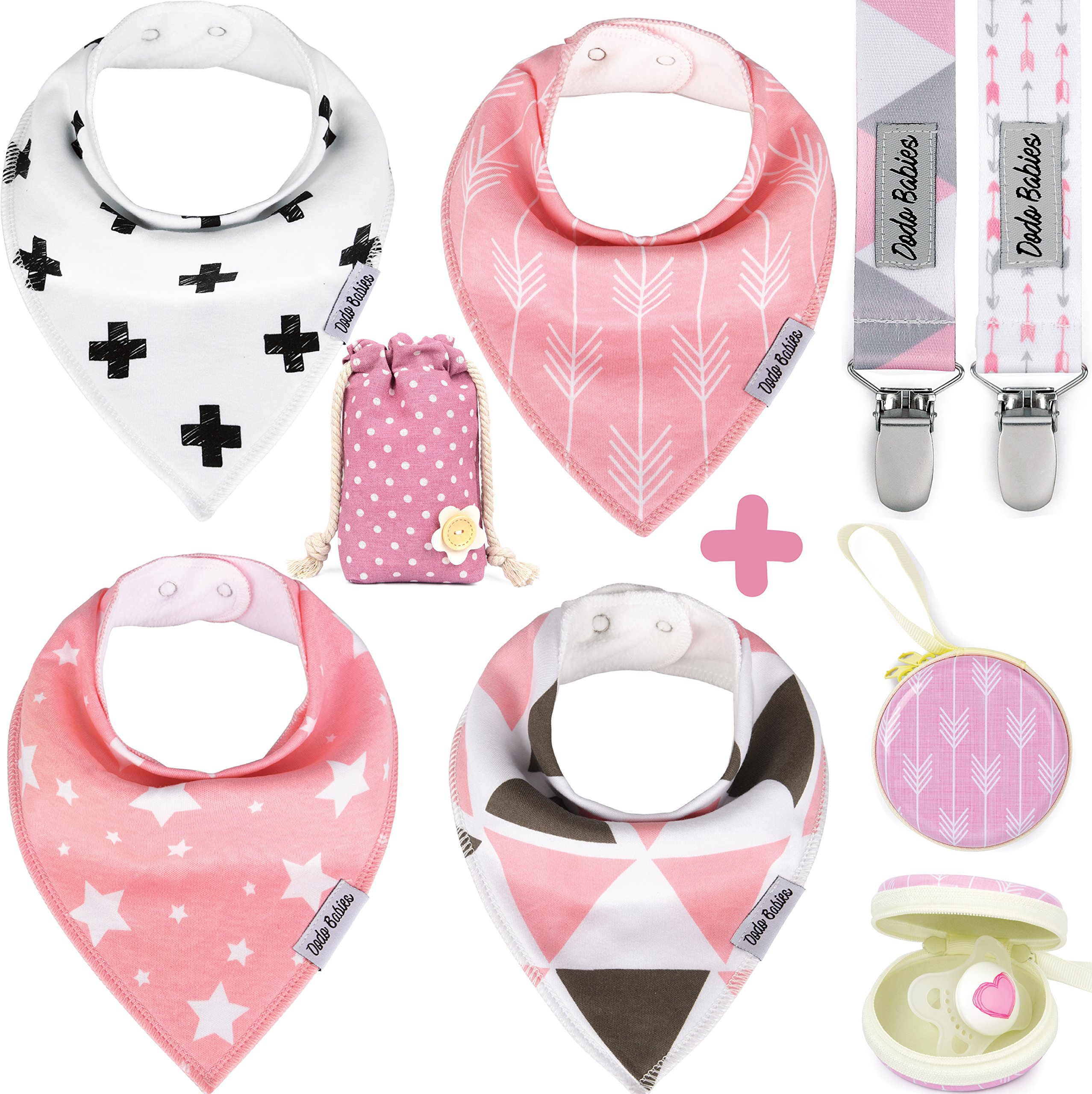 Baby Bandana Drool Bibs by Dodo Babies For Girls + 2 Pacifier Clips + Pacifier Case in a Gift Bag, Pack of 4 Premium Quality, Excellent Baby Shower / Registry Gift by Dodo
