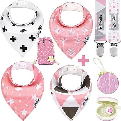 Baberos bandana para bebé de Dodo Babies para niñas + 2 pinzas para ...
