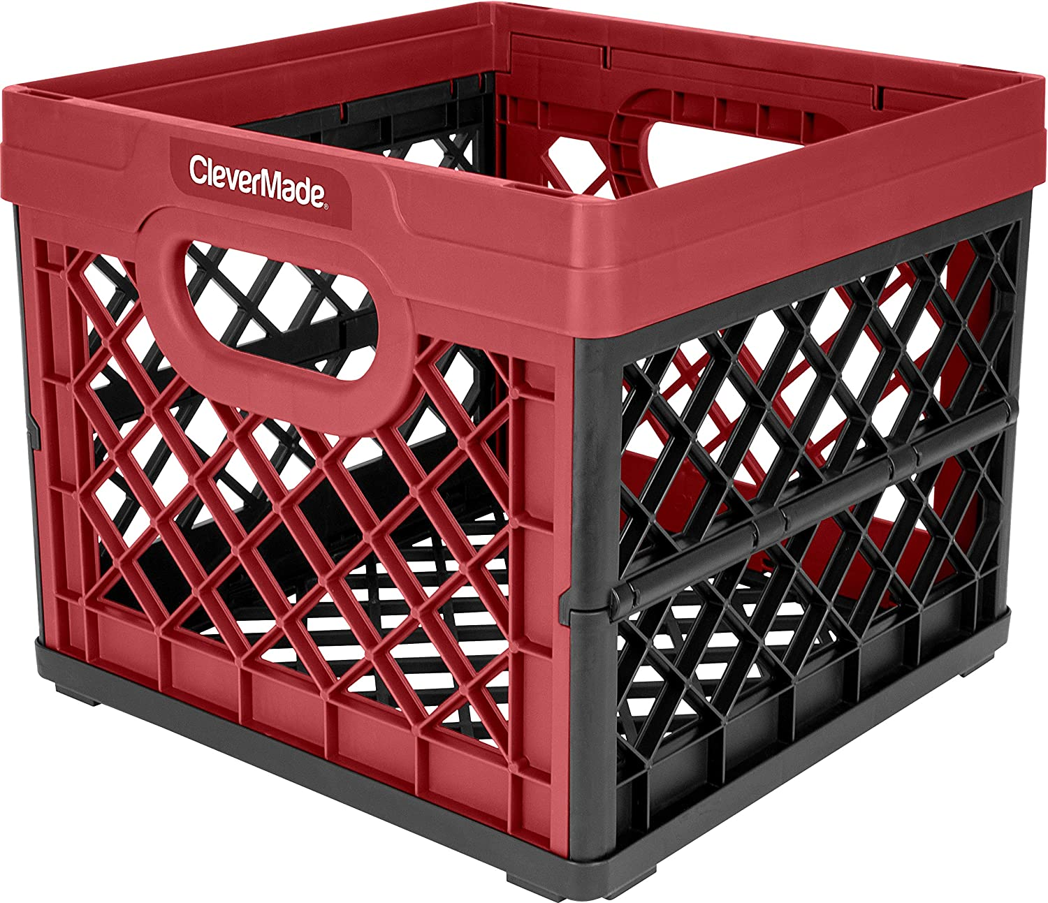 CleverMade 3-Pack Collapsible Milk Crate - Stackable Collapsible Storage Bin/Container / Utility Tote, 25 Liters, Red (3 pk)