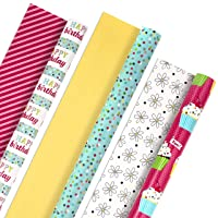Hallmark All Occasion Reversible Wrapping Paper Bundle - Happy Birthday (3 Rolls...