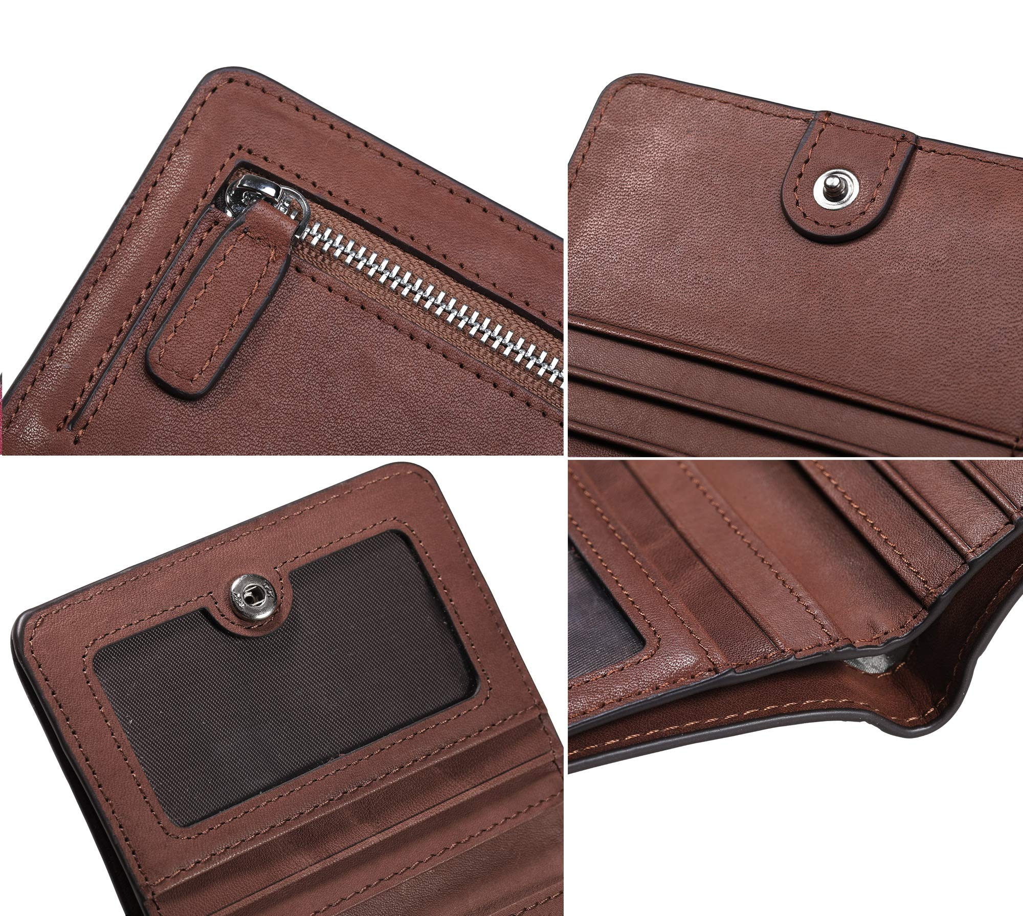 BIG SALE-AINIMOER Women's RFID Blocking Leather Small Compact Bifold Pocket Wallet Ladies Mini Purse with id Window (Vintage Brown) by AINIMOER (Image #8)