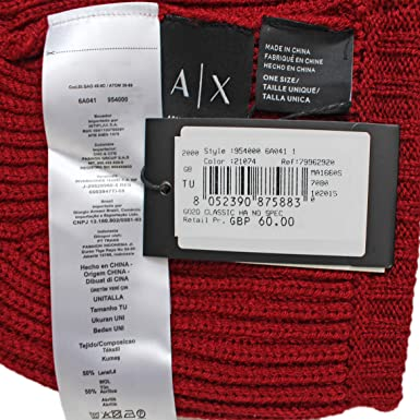 5406a107b83 Armani Exchange Men s Logo TAB Cable Knit Beanie HAT Cap Blue RED ONE Size ( Red)  Amazon.co.uk  Clothing