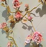 RJB Stone - Ghirlanda di rose, ca. 180 cm, colore: Rosa chiaro