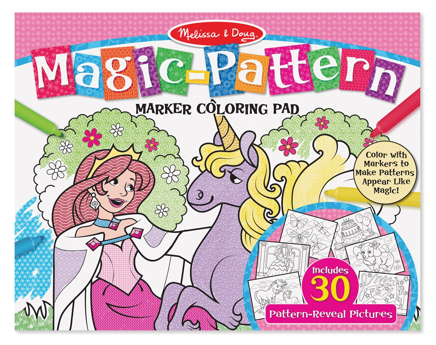 amazoncom melissa doug magic pattern marker kids coloring pad princesses ponies parties and more melissa doug toys games - Magic Marker Coloring Book