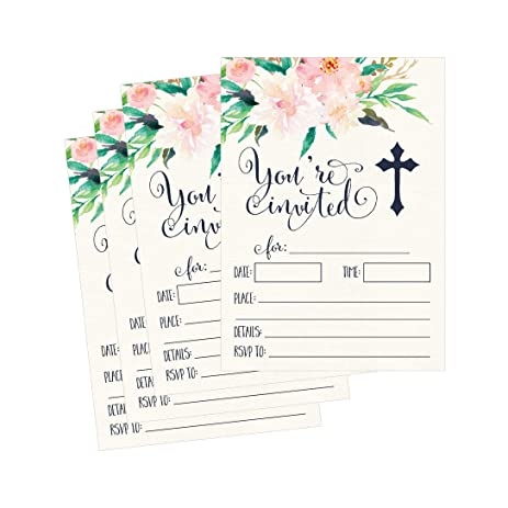 Amazoncom 50 Floral Religious Invitations Confirmation Holy