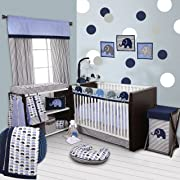 Bacati 10-Piece Elephants Nursery-in-A-Bag Crib Bedding Set with Long Rail Guard, Blue/Grey