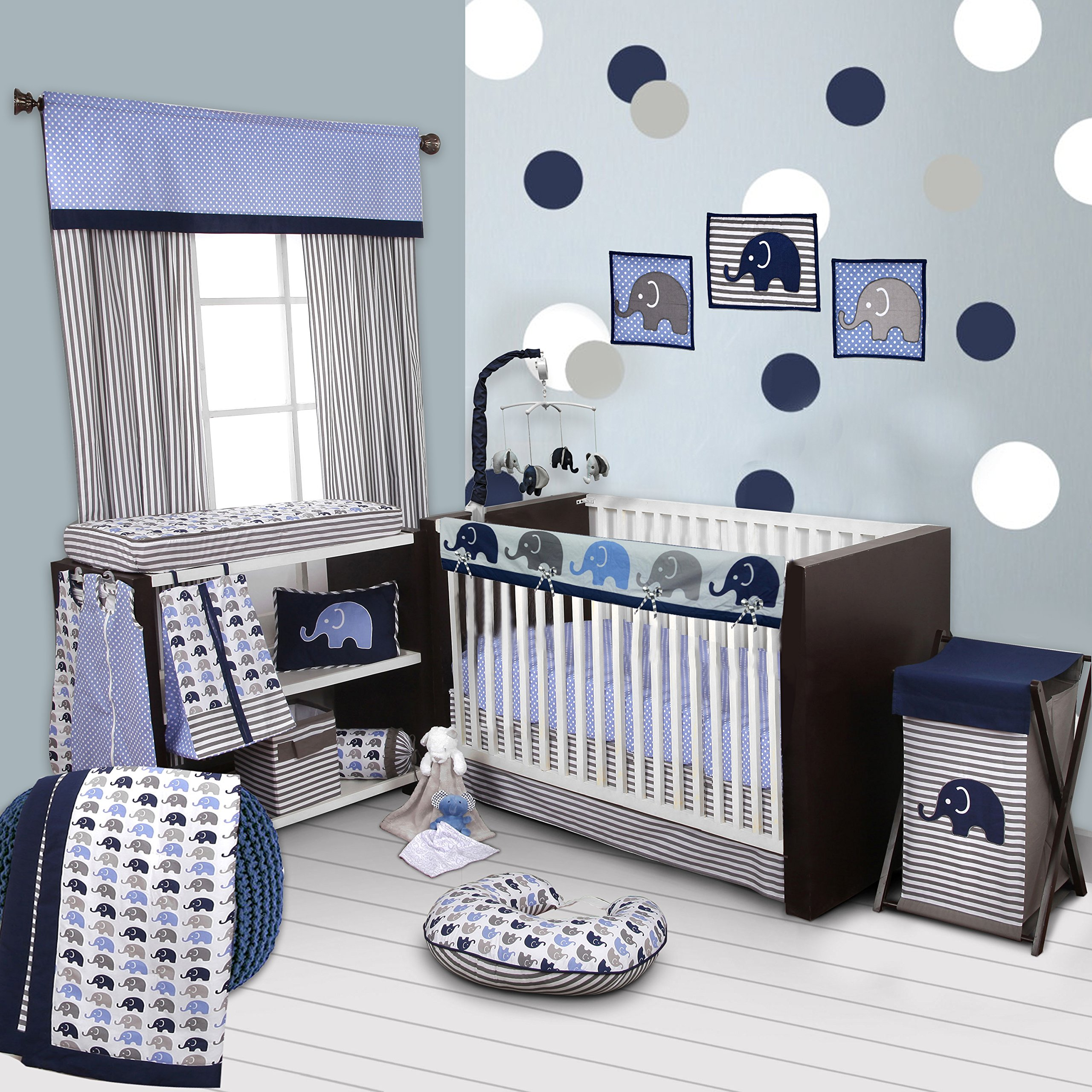 c21eaec14 Bacati 10-Piece Elephants Nursery-In-A-Bag Crib Bedding Set with Long Rail  Guard, Blue/Grey