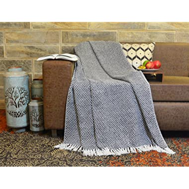 R Home Luxury Jacquard Knitted Cotton Throw Blanket with Fringe for Sofa, Gift, Chair, Bed, Beach, Outdoor, Picnic and Everyday Use, Black, 50 x 70 Inch Throws
