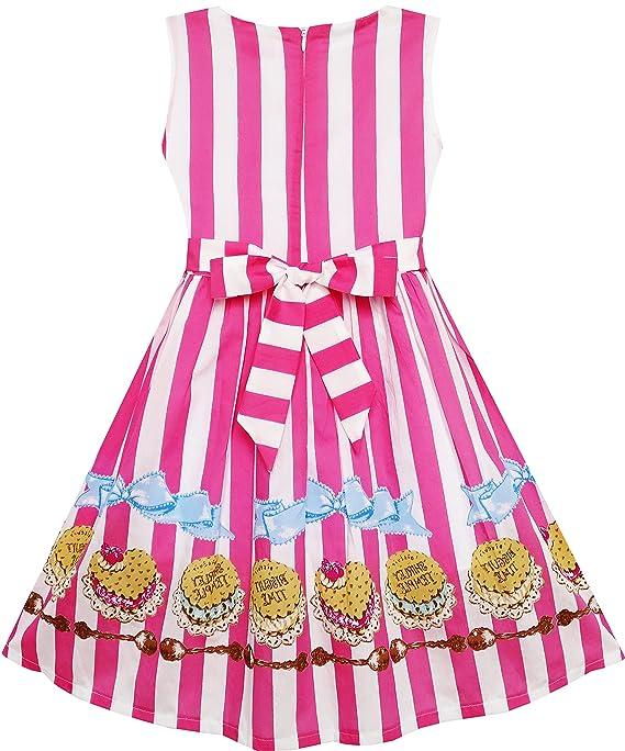 Sunny Fashion Vestido para niña Rayado Galleta Impresión Corbata ...