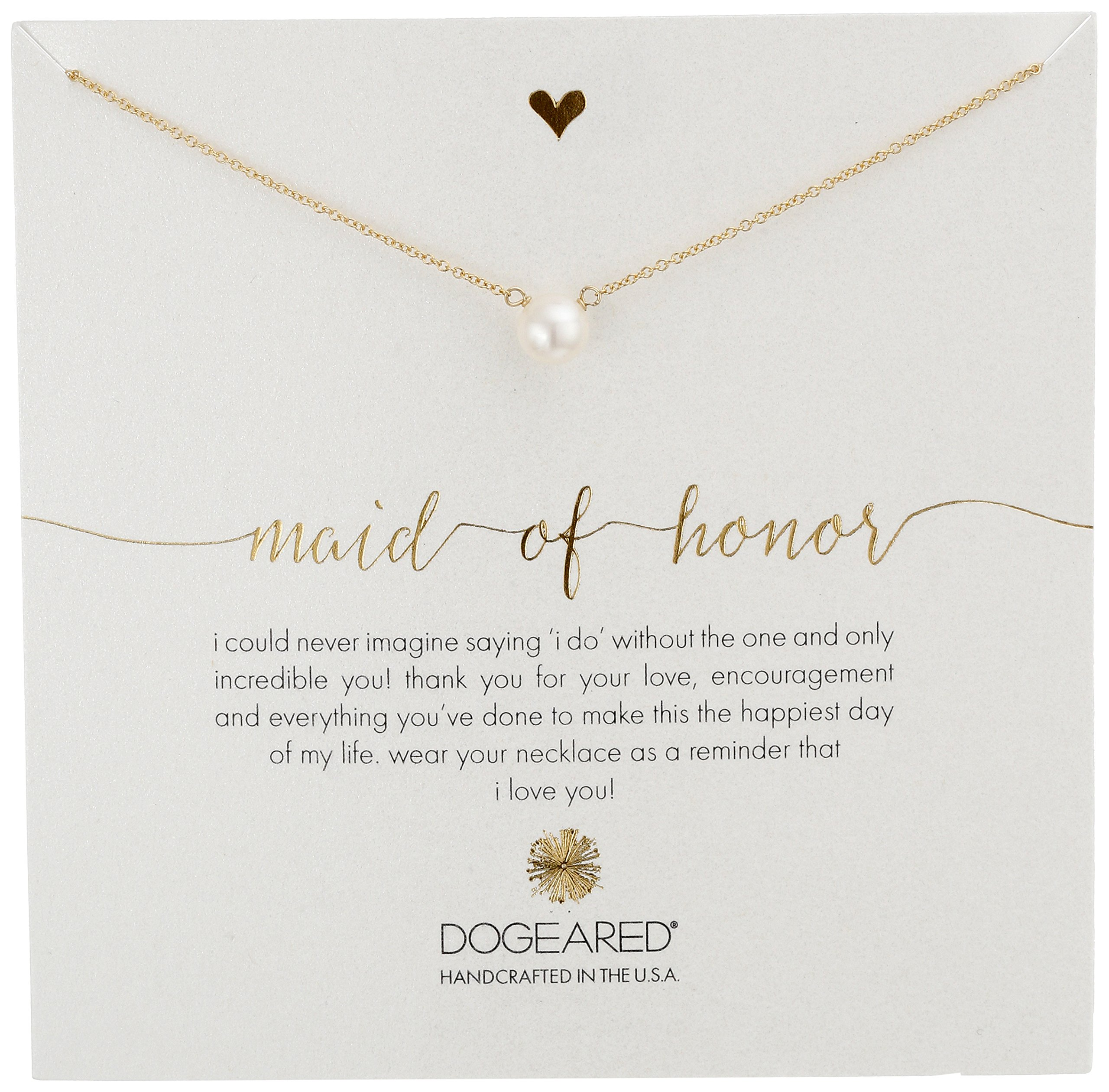 Dogeared Maid of Honor, Large White Pearl Gold Necklace, 18''