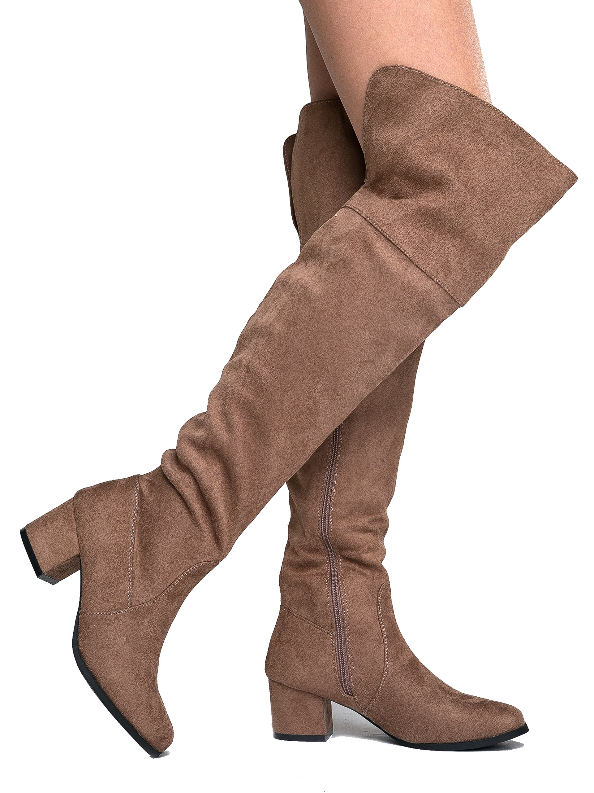 J. Adams Low Heel Over The Knee Boot, Taupe Suede, 10 B(M) US