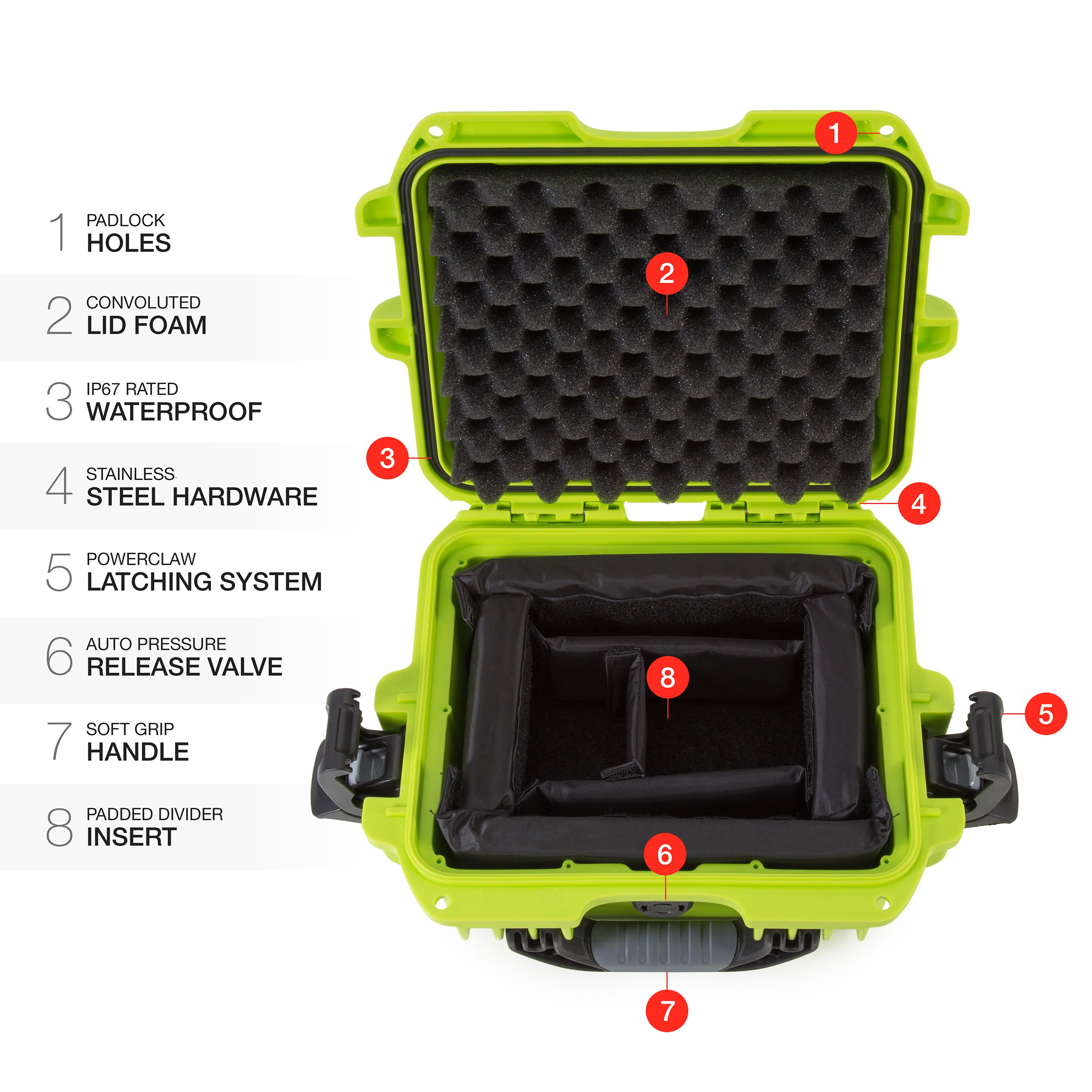 Nanuk 905 Waterproof Hard Case with Padded Dividers - Lime by Nanuk (Image #6)