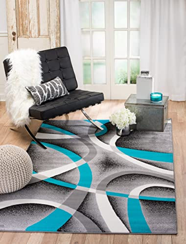 Summit 35 Turquoise Grey Area Rug Modern Abstract Many Sizes Available 7 .4 x 6 , 7 .4 x 10 .6