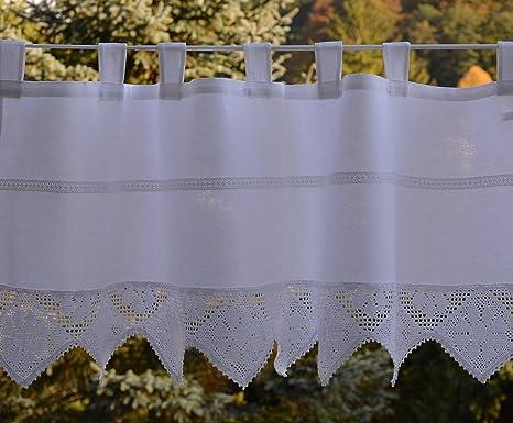 30x150 cm Wei/ß Scheibengardine mit geh/äkelter Spitze Bistrogardine H/äkelkante Panneaux Kurzstore /Ösen Landhaus Spitze Shabby ca