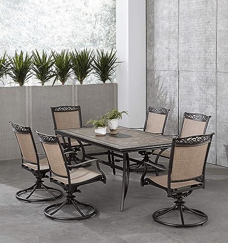 Hanover FNTDN7PCSWTN Fontana 7-Piece Dining Set Outdoor Furniture
