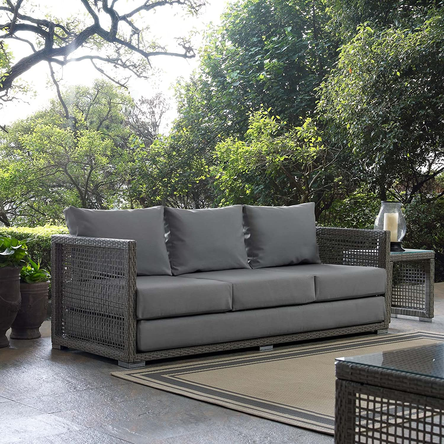 Modway EEI-2923-GRY-GRY Aura Outdoor Patio Wicker Rattan Sofa Gray