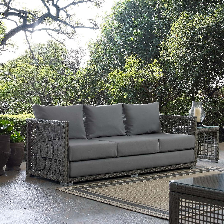 Modway EEI-2923-GRY-GRY Aura Outdoor Patio Wicker Rattan Sofa Gray