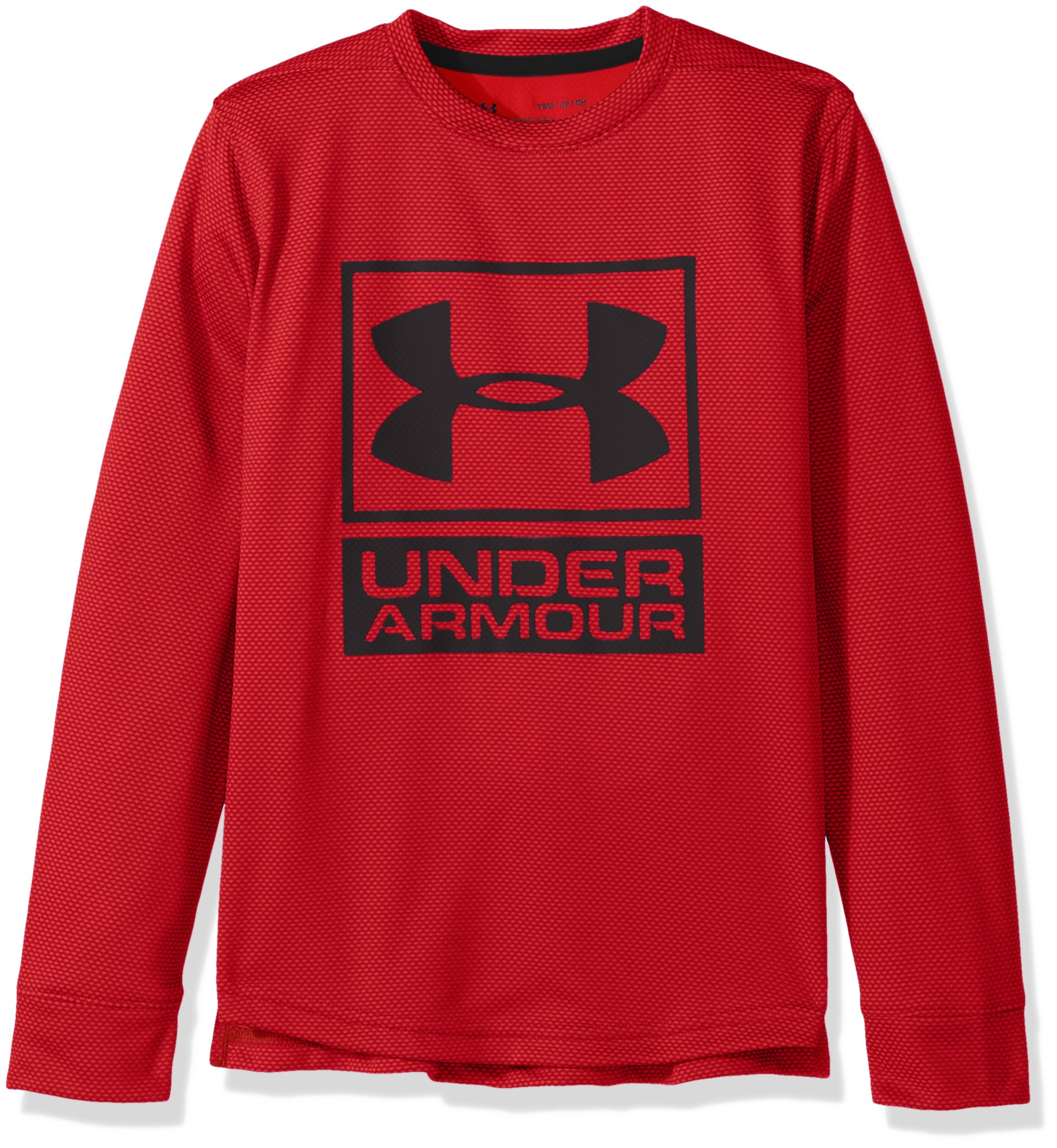 Under Armour Boys' Tech Textured Crew,Red /Black, Youth X-Small by Under Armour