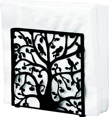 Black Metal Tree & Bird Design Tabletop Napkin