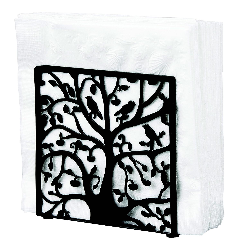 Black Metal Tree & Bird Design Tabletop Napkin Holder/Freestanding Tissue Dispenser