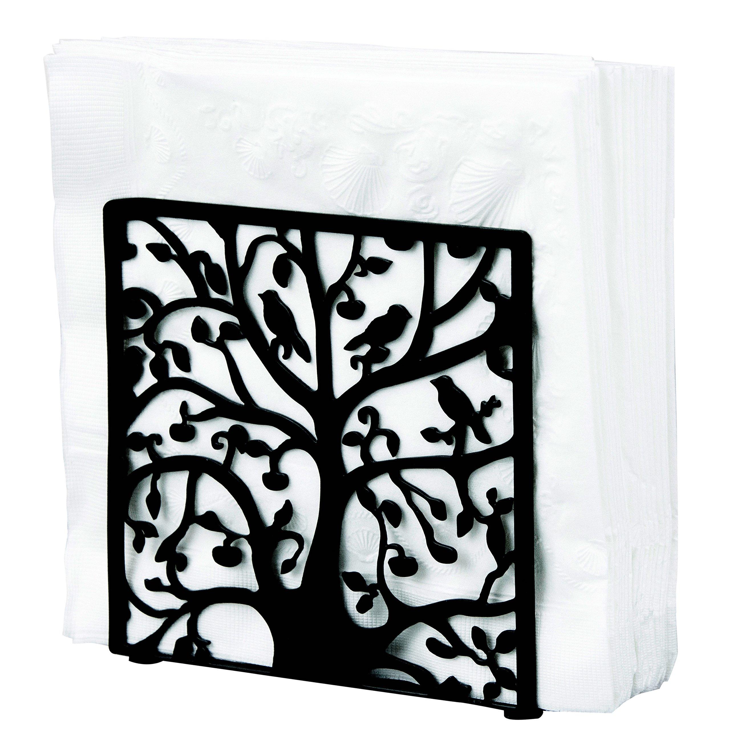 Black Metal Tree & Bird Design Tabletop Napkin Holder/Freestanding Tissue Dispenser by MyGift