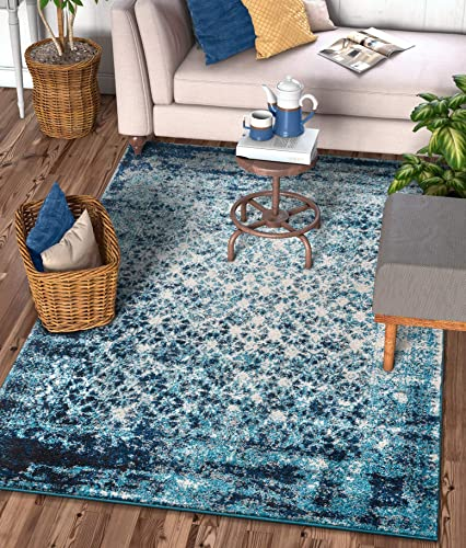 Well Woven Sydney Vintage Manchester Royal Blue Modern Mosaic Distressed Area Rug 9 3 x 12 6