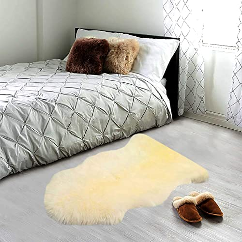 A-STAR TM Real Sheepskin Rug Single Pelt – 2ft x 3ft Sheepskin 2 x 3, Creamy